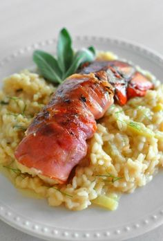 Lobster Tail Over Creamy Fennel Risotto -- Delicious sweet lobster ...