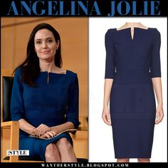 Angelina Jolie in navy blue 3/4 sleeve pencil dress at United Nations Geneva