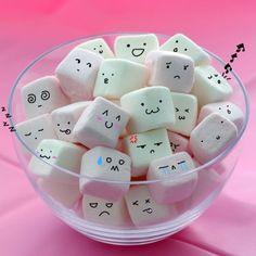 blong, cute, faces, kawaii, marshmallows