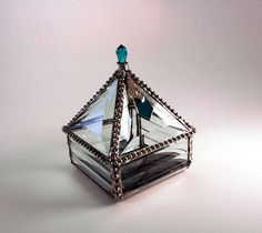 Stained Glass Pyramid Jewelry Box BlueGreen by SisterArtGlass