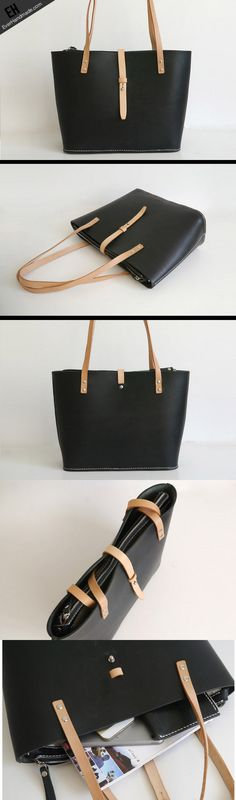 Handmade Leather handbag shoulder tote bag Black for women leather shoulder bag
