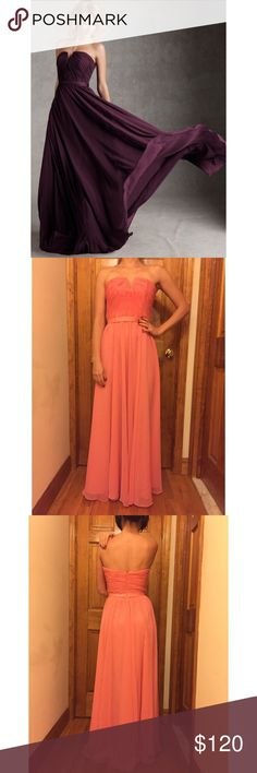"""3.99 SHIPPING TILL 5:25pm Angelina Faccenda Prom Famous Bridesmaids Wedding & prom dress designer Angelina Faccenda excels with this dress!Bust(underarm to underarm):16"""" Waist:13"""" Total Length:53"""" Fit: Flattering, form-fitted. Runs true to size. All measurements are taken with the item laid flat.  EUC (Excellent Used Condition) 💯Polyester. Fully lined. Color: Coral 30% off on bundles. I ship same-day from pet/smoke-free home. Buy with confidence. I am a top seller with close to 500 5-star…"""