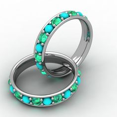 Custom Made Turquoise and Green Emerald Ring by Paul Michael Design