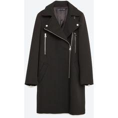 Zara Biker Coat ($169) ❤ liked on Polyvore featuring outerwear, coats, black, zara coat, black coat and biker coat