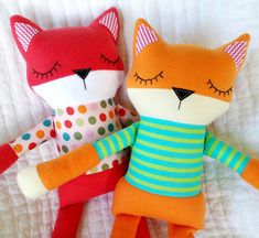 Fox Softie Sewing Pattern  Sleepy Soft Fleece Toy Animal