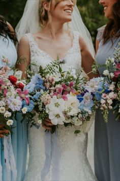 Beautiful wedding flower bouquets of different colours by Dartmoor Flowers based in Devon, UK, offering exquisite, elegant and romantic garden style flowers for your wedding. Wedding flowers - bouquets, white, blue, pink, Devon, UK