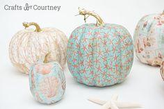 Coastal Mod Podge Pumpkins Craft- Crafts by Courtney