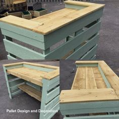 Here we are offering few insane and smart wood pallet plans to provide you something more than exceptional. These wonderful wood pallets projects will let the environment of your room, lounge, and garden to breathe. Reclaimed wood pallets furniture w Diy Pallet Sofa, Wooden Pallet Projects, Wooden Pallet Furniture, Pallet Crafts, Pallet Ideas, Diy Pallet Bar, Rustic Furniture, Furniture Ideas, Repurposed Furniture
