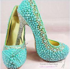 Turquoise / Aqua / Teal Pearls Wedding by HandmadeCrystalShoes