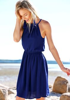 Navy Pleated Flowy Dress - No Stretch Fully Lined Dress