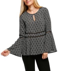 Love this Black & White Geometric Peasant Top on #zulily! #zulilyfinds