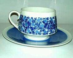 Arabia Finland cup saucer set blue floral vintage