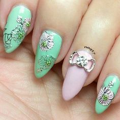 pink and silver flower nail art design 6/16/2015