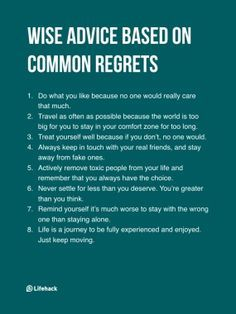 Wise advice based on common regrets