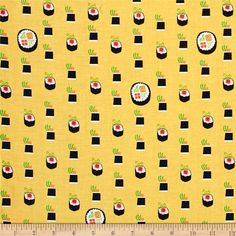 Michael Miller Bento Box Maki Bamboo from @fabricdotcom  Open your bento and admire the contents with this collection from Michael Miller Fabrics. From sushi, to matcha, edamame, and miso - this cotton print collection is sure to fire up your appetite and your cravings for favorite Japanese food! Perfect for quilting, apparel, and home decor accents. Colors include yellow, white, black, pink, orange, and green.