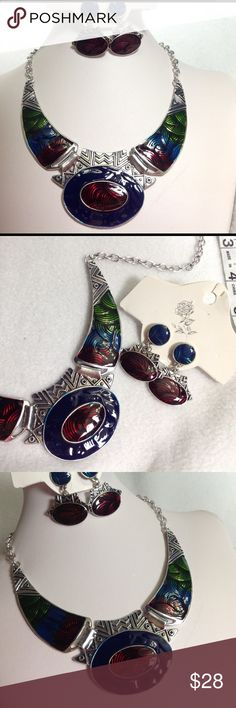 Red green blue jewelry set Silver toned. Jewelry Necklaces