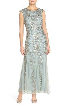 Sage Green Beaded Mermaid Gown | Beautiful Mother of the bride or groom dress (In Regular & Petite Sizes)