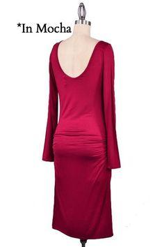 Shaken Not Stirred Ruched Midi Dress - Mocha