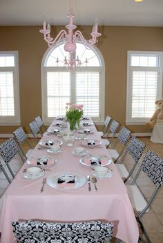 A Pink and Black Damask Baby Shower for a Princess