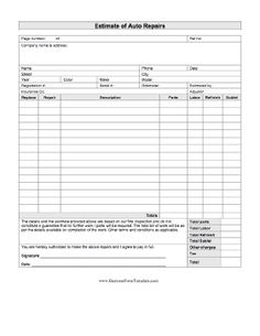 Use This Printable Business Form To Write Up An Estimate Of Parts And Labor Necessary For Repair ShopCar