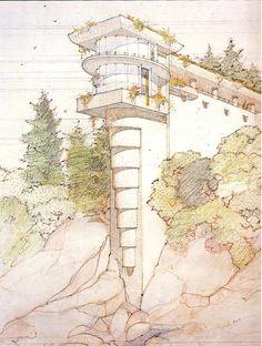 Morris Residence/ Seacliff. Frank Lloyd Wright. Unbuilt. Designed 1937, rendering by John deKoven Hill