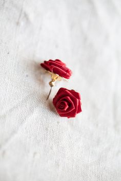Red Rose Flower Earrings $10.00, via Etsy.