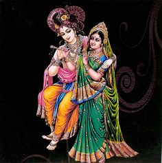 Radha Learning Flute from Krishna - Reprint on Card Paper - Unframed picclick.com