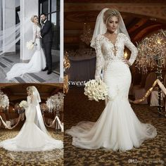 2016 Spring Berta Sexy Plus Size Lace Wedding Dresses Bridal Gowns Sheer V Neck Tulle Lace Long Sleeve Backless Custom Mermaid Wedding Gowns Online with $140.16/Piece on Sweet-life's Store | DHgate.com