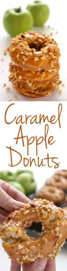 Apple Donuts Caramel Apple Donuts - Easy and delish donut idea for fall. Great for breakfast or dessert.Caramel Apple Donuts - Easy and delish donut idea for fall. Great for breakfast or dessert. Delicious Donuts, Yummy Food, Baked Doughnuts, Donuts Donuts, Homemade Donuts, Homemade Breads, Apple Recipes, Caramel Apples, Apple Caramel