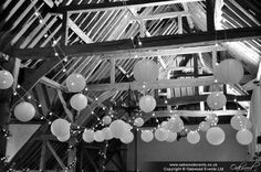 Festoons and paper lanterns are perfect partners Ceiling Decor, Ceiling Lights, Festoon Lights, Event Lighting, Dc Weddings, Paper Lanterns, Lampshades, Fairy Lights, Chandelier