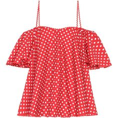 Anna October Dotted Cotton Top (1462335 PYG) ❤ liked on Polyvore featuring tops, red, red top, dot top, polka dot top and red polka dot top