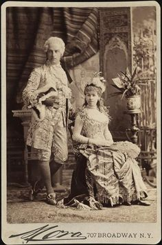 """Mr. and Mrs. Cornelius Vanderbilt II (neé Alice Claypoole Gwynne) as costumed for the infamous ball hosted by his brother and sister-in-law Mr. and Mrs. W. K. Vanderbilt,  26 March 1883. It was this ball and the social maneuvering of Mrs. W. K. Vanderbilt that earned the family a perpetual place on Mrs. Astor's List of the most elite New York families. Mr. Vanderbilt is dressed as Louis XVI and Mrs. Vanderbilt as """"Electric Lights."""" Her costume is now among the Metropolitan Museum's…"""