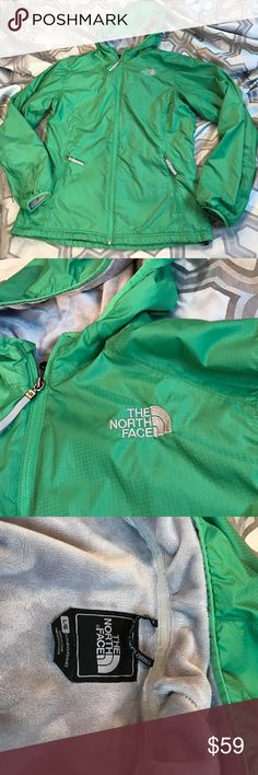 The North Face szL green/gray wind breaker jacket Excellent used condition The North Face szL green/gray fleece lined wind breaker jacket... The North Face Jackets & Coats