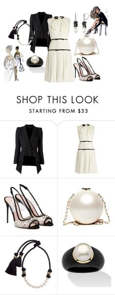 """Black & white hottie"" by deirdre35 ❤ liked on Polyvore featuring Alexander McQueen, Giambattista Valli, Miu Miu, Lanvin, Palm Beach Jewelry and Allurez"