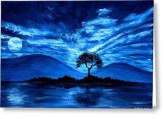 Blue Moon Greeting Card by Wahleyah Black