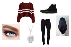 """""""Untitled #71"""" by villarrealmaya ❤ liked on Polyvore featuring Frame Denim, Converse, Maybelline and BERRICLE"""
