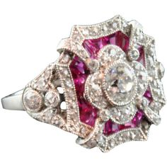 Edwardian ruby & diamond cluster ring - Hancocks ❤ liked on Polyvore featuring jewelry, rings, edwardian diamond cluster ring, ruby ring, diamond cluster ring, edwardian ring and ruby jewelry