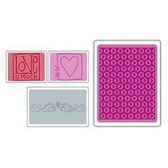 Brand New - SIZZIX Embossing Folder - Set of 4 - LOVE SET - Valentine by AmGiftShoP on Etsy