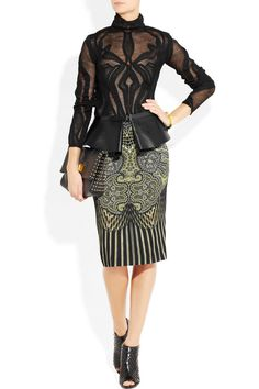 Etro, Satin-trimmed printed stretch-crepe pencil skirt, etro fine open knit wool top and leather peplum belt