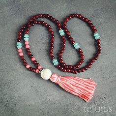 Rose wood aqua coral mala necklace with pink tassel by tellurus