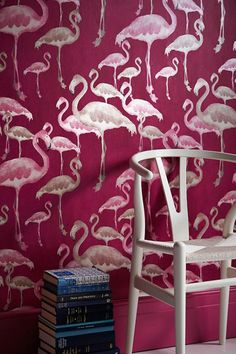 A whole flock of flamingoes finds its way into the room via our gorgeous non-woven wallpaper Amidala. These elegant animals in various sizes on a deep red-purple background are both exotic and graceful. Hallway Wallpaper, Office Wallpaper, Purple Wallpaper, Purple Backgrounds, Purple Walls, Create Space, Red Purple, Pattern Wallpaper, Color Inspiration