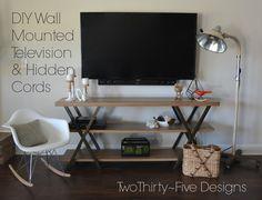 idea, bookcases, wall mount, mount televis, hidden cord, diy wall, playrooms, cords, design
