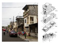 (Ecuador, Guayaquil. Suburbio City Disctrict. Images by Olga Peek.)  In Guayaquil according to municipal data, 70% of the housing stock is built without the intervention of architects, engineers or other professionals. This image represents the incremental transformation process of dwellings in the largely self-built city of Guayaquil. From the early 1960's throughout the 1970's incipient homes in Suburbio where built on stilts above swampy land and water.