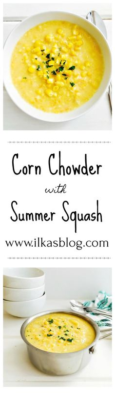 Corn Chowder with Yellow Summer Squash. A delicious, gluten-free Summer Classic. A comforting, nutritious and scrumptious American Classic. Soup Recipes, Vegetarian Recipes, Dinner Recipes, Cooking Recipes, Healthy Recipes, Healthy Food, Healthy Soups, Eating Healthy, Healthy Life