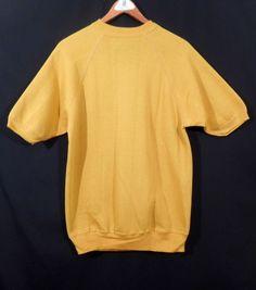 Vintage 1950's 1960's SHORT SLEEVE SWEATSHIRT Deadstock Mustard Yellow Men's L #Unbranded #Tank #Casual