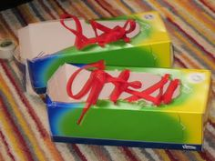 30 Incredible Tissue Box Crafts--shoe box tie your shoes Tissue Box Crafts, Tissue Boxes, Fine Motor Activities For Kids, Toddler Activities, Class Activities, Diy And Crafts, Crafts For Kids, Children Crafts, Toddler Fun