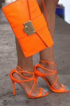 Orange Jimmy Choo Heels ~ 20 Trendy Shoe Styles On The Street @styleestate