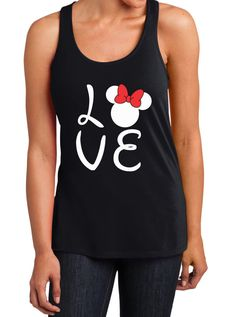 Love minnie mouse racer love minnie mouse tank top by tcxpress. Disney Shirts For Family, Couple Shirts, Shirts For Girls, Minnie Mouse Silhouette, Monogram Tank, Tank Top Shirt, Tank Tops, Minnie Mouse Shirts, Disney Outfits