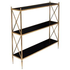 French Maison Jansen Vintage Brass and Glass Shelf Console at 1stdibs