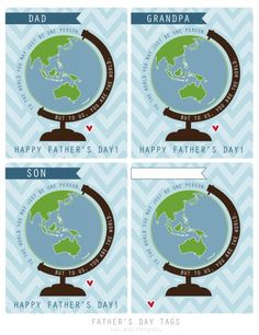 Father's Day Gift Tag {You are the World} free printable for dad, grandpa, son, or anyone!